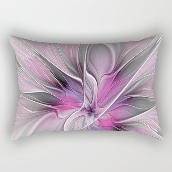 A Blooming Dream, Abstract Fractal Art Rectangular Pillow