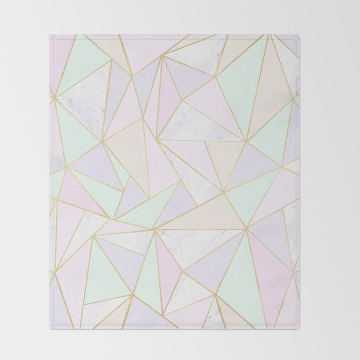 Marble pastel triangles-Gold Throw Blanket