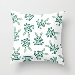 Blue rabbit with flora instead of coat Throw Pillow