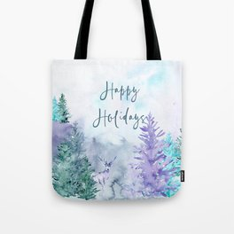 Watercolor Happy Holidays Winter Wonderland Tote Bag