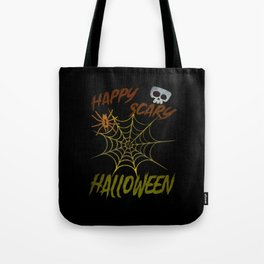 Happy Scary Halloween Spider Skull Tote Bag