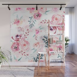 Pink Watercolor Florals I Wall Mural