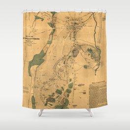Vintage Battle of Gettysburg Map (1864) Shower Curtain