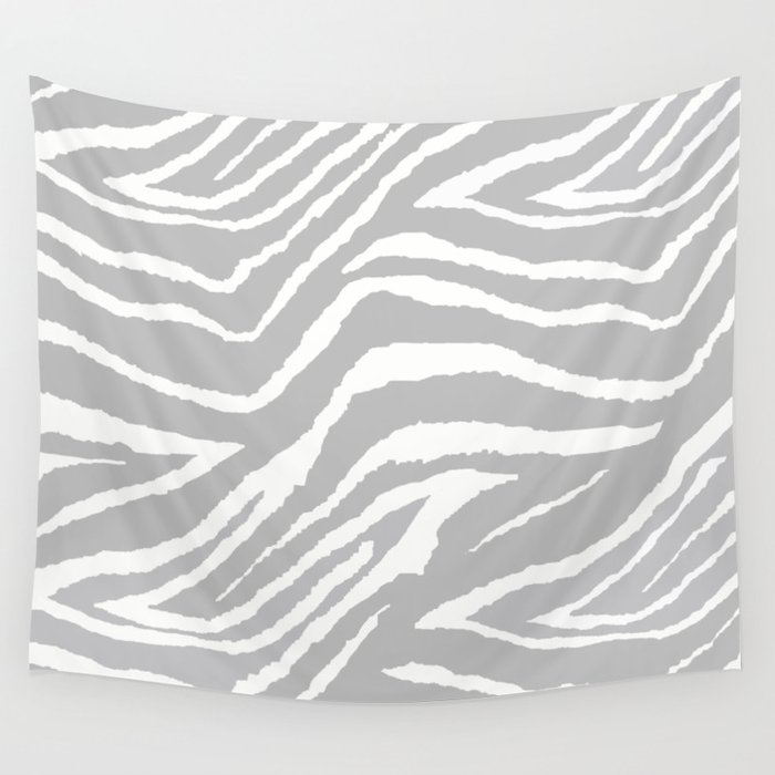 ZEBRA GRAY AND WHITE ANIMAL PRINT Wall Tapestry
