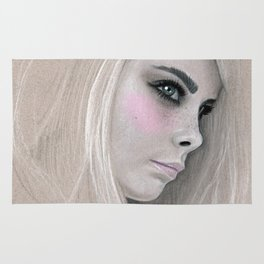 Cara Fashion Illustration Portrait Rug