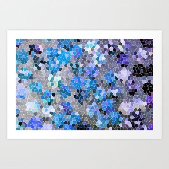 blue and grey Art Print