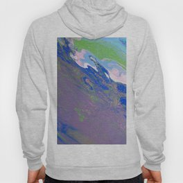 Fluid Art Acrylic Painting, Pour 9, Purple, Green, Blue, White & Pink Blended Colors Hoody