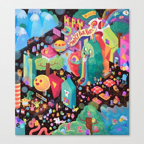 Happy World - Money is FREE ! Canvas Print