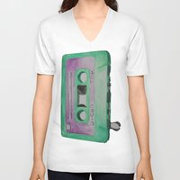 cassette V-neck T-shirts featuring Cassette by TrishRay