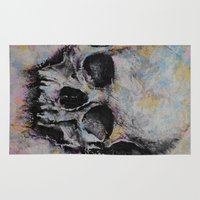 medieval Area & Throw Rugs featuring Medieval Skull by Michael Creese