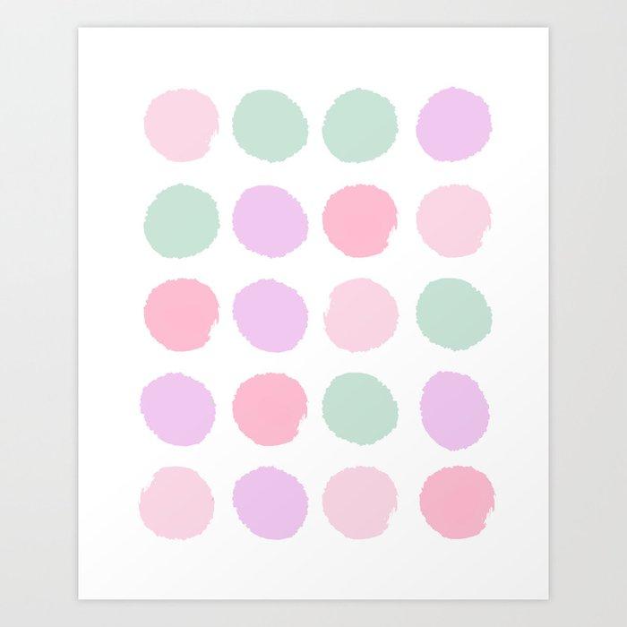 Dots pastels modern minimal dorm college office minimalist decor Art Print