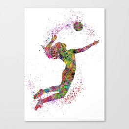 Volleyball girl, watercolor volleyball girl Canvas Print