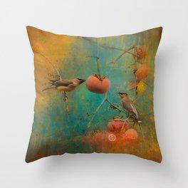 Visiting Cedar Waxwings Throw Pillow