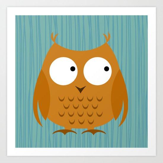 Owl Orange Art Print
