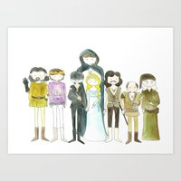 princess bride Art Prints featuring Princess Bride Cast Cartoon by Newspaper Balloon