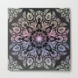 Coloring on the dark bacground hand drawn mandala Metal Print