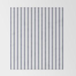 Dark Sargasso Blue Mattress Ticking Wide Striped Pattern - Fall Fashion 2018 Throw Blanket