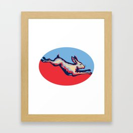 Rabbit Jumping Side Retro Framed Art Print