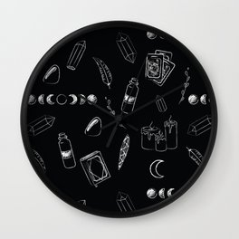 Witchy Stuff Black Wall Clock