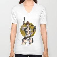lara croft V-neck T-shirts featuring Lara Croft Indy by Juan Pablo Cortes