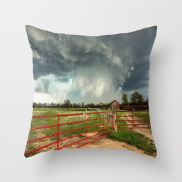 The Red Gates - Storm Passes By Farm in Kansas Throw Pillow