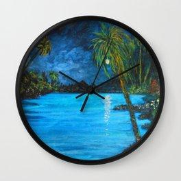 Tropical Night Reflection Wall Clock