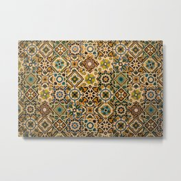 Old tiles (azulejos) from facade of house in Portugal Metal Print