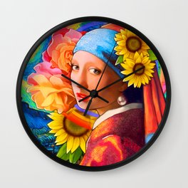 Girl With A Pearl Earring Collage Wall Clock