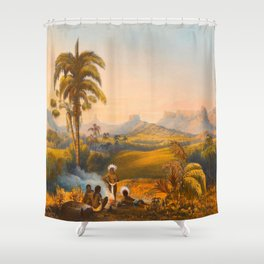 Roraima Mountain Illustrations Of Guyana South America Natural Scenes Hand Drawn Shower Curtain