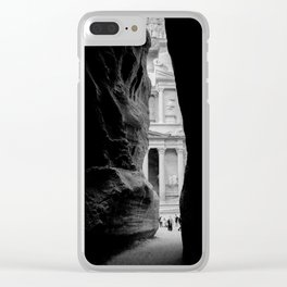 The Treasury Building of Petra as Seen Through the Siq Clear iPhone Case