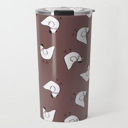 the happy french hen in lilac greige Travel Mug