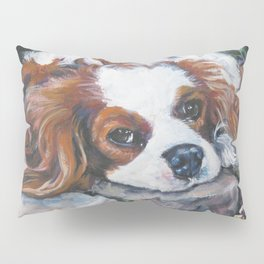 Beautiful Blenheim Cavalier King Charles Spaniel Dog Art Painting by LA.Shepard Pillow Sham