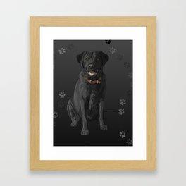 Black Labrador Retriever Paw Prints Framed Art Print