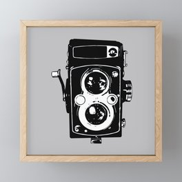 Big Vintage Camera Love - Black on Grey Background Framed Mini Art Print