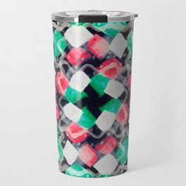 Celebration of Confetti & Streamers - a white, navy, emerald green & melon abstract Travel Mug