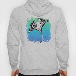 Manta Ray Tribal Tattoo Ink Teal Blue Hoody