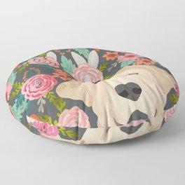 Yellow Lab dog portrait labrador retriever dog art pet friendly florals floral Floor Pillow