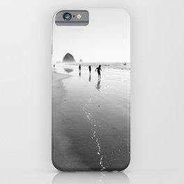 Running near Haystack Rock - Black and White Fine Art Print iPhone Case