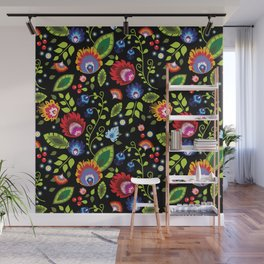 Folklore - multicoloured flowers and leaves Wall Mural
