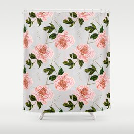 Pattern peonies and golden triangles Shower Curtain