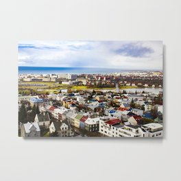 Aerial View of Rainbow Roof Houses and Apartments in Reykjavik, Iceland Metal Print