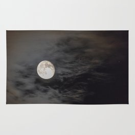 Waning moon and clouds with Saturn Rug