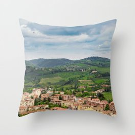 Beautiful spring froggy landscape in Tuscany countryside, Italy Throw Pillow