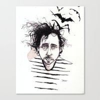 tim burton Canvas Prints featuring Tim Burton by Jess Rose