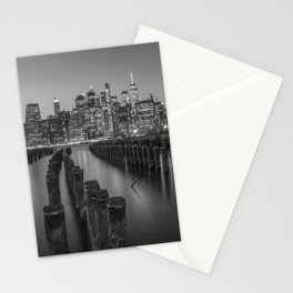 Brooklyn Waterfront in Black and White Stationery Cards