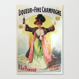 retro liqueur de fine champagneposter  Canvas Print