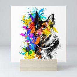 Dog portrait face German Shepherd colorful Mini Art Print