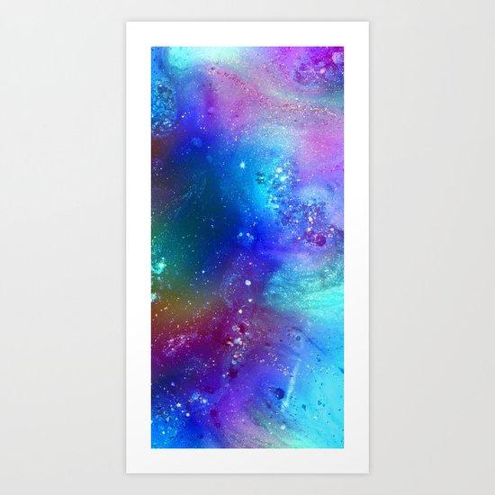 blue glitter design Art Print