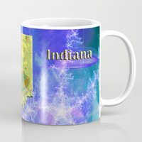 indiana Mugs featuring Indiana Map by Roger Wedegis