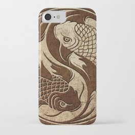 Yin Yang Koi Fish with Rough Texture Effect iPhone Case